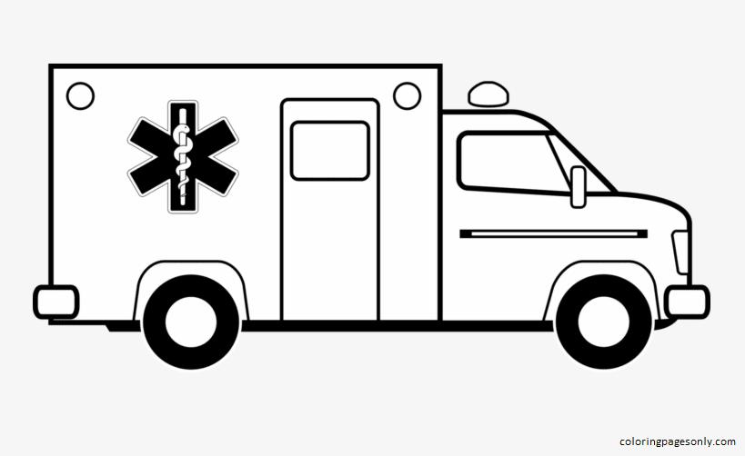 Ambulance Emergency Coloring Page