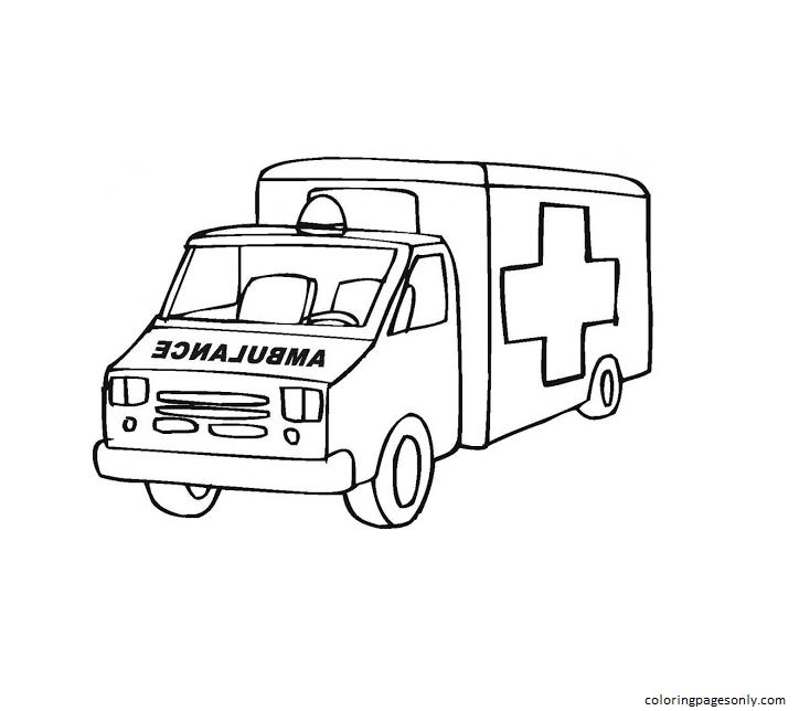 Ambulance Free Pintable Coloring Page