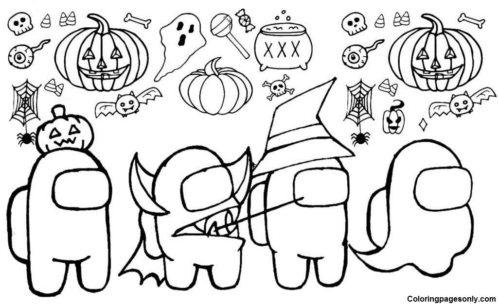 Among Us Halloween Characters Coloring Page