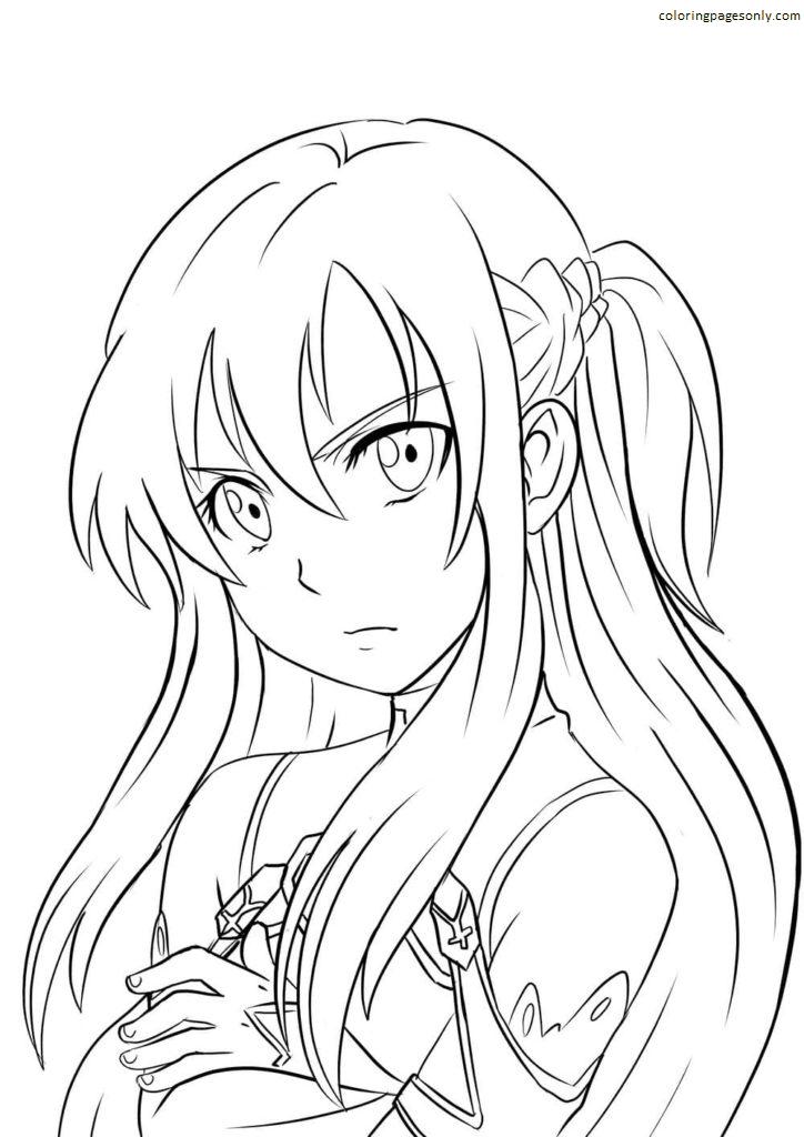 Anime Asuna Yuuki From SAO Coloring Page