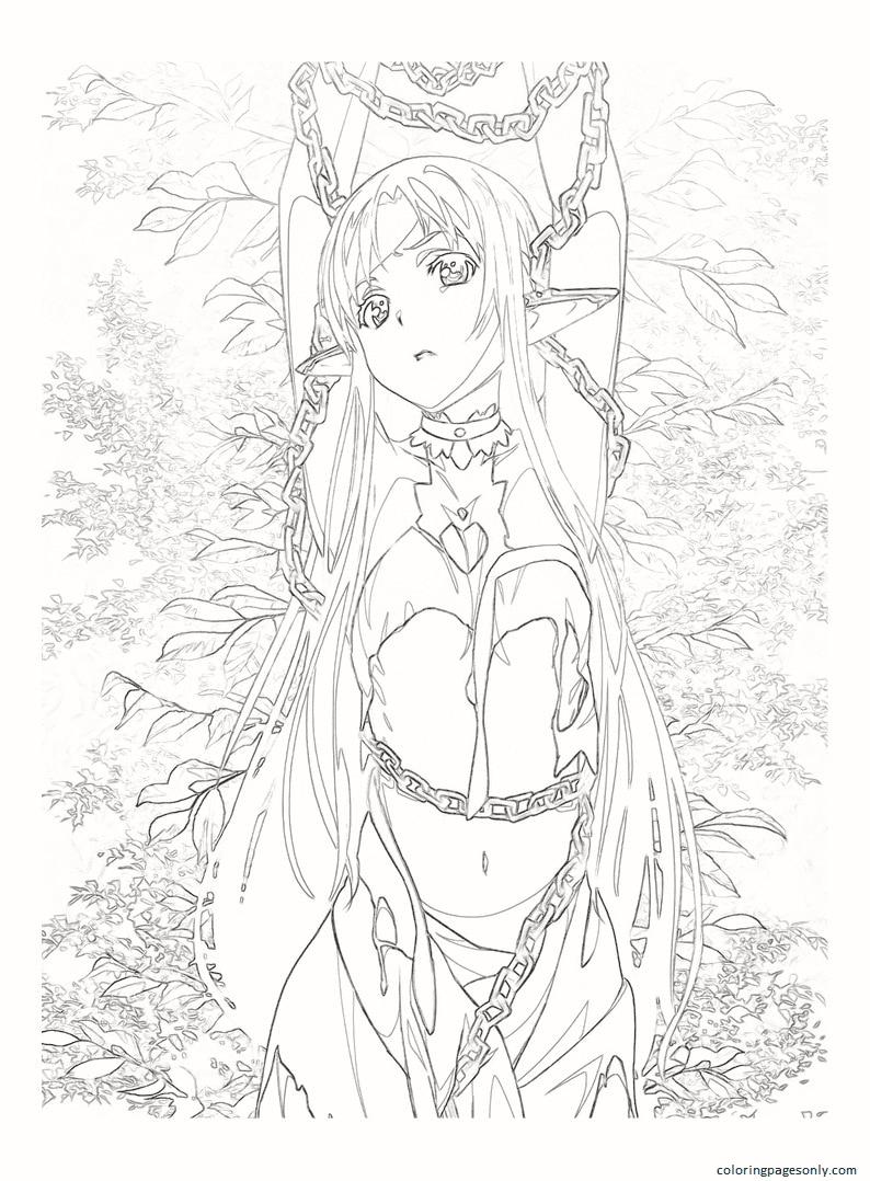 Anime Asuna Yuuki Coloring Page