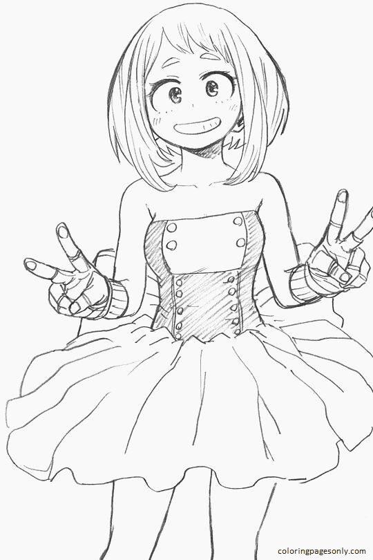 Anime Ochaco Uraraka Coloring Page