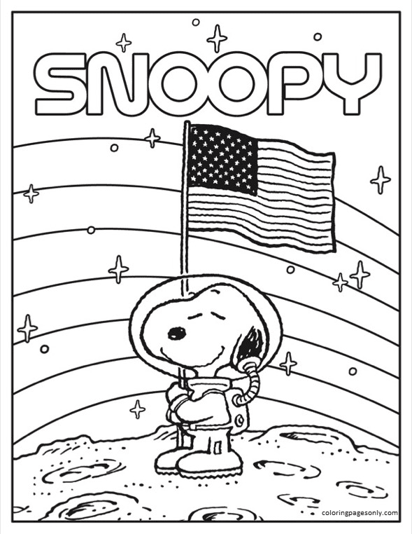 Astronaut Snoopy 1 Coloring Page