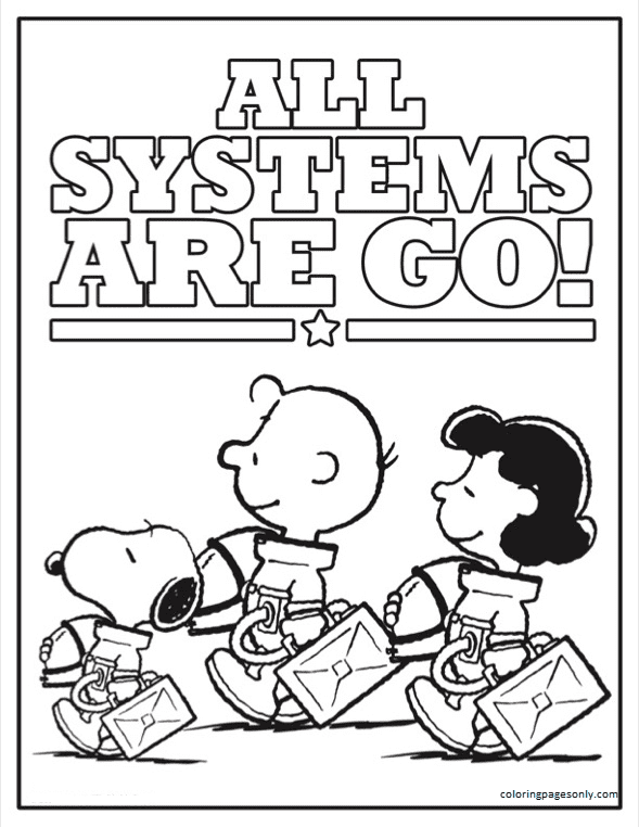 Astronaut Snoopy 2 Coloring Page
