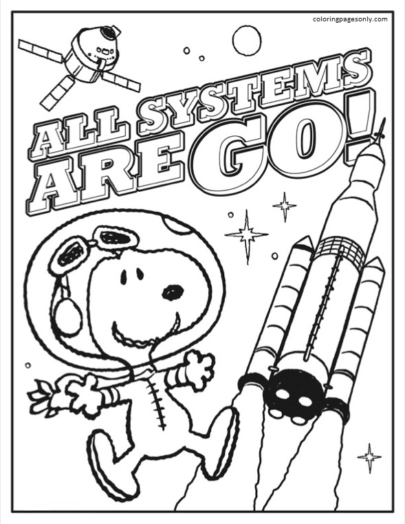 Astronaut Snoopy Sheet 1 Coloring Page