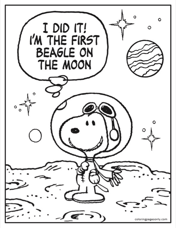 Astronaut Snoopy Sheet 2 Coloring Page