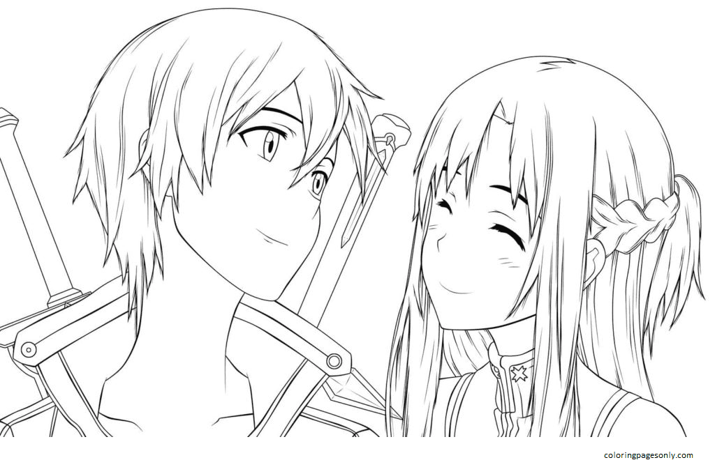 Asuna and Kirito from the anime Coloring Page