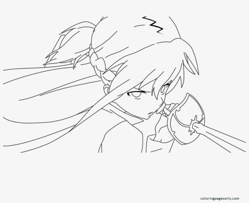 Asuna From Sword Art Online Coloring Page