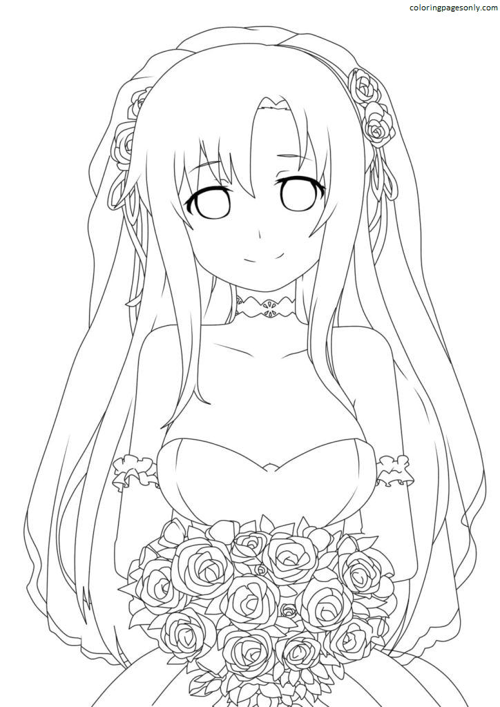 Asuna in a wedding dress Coloring Page