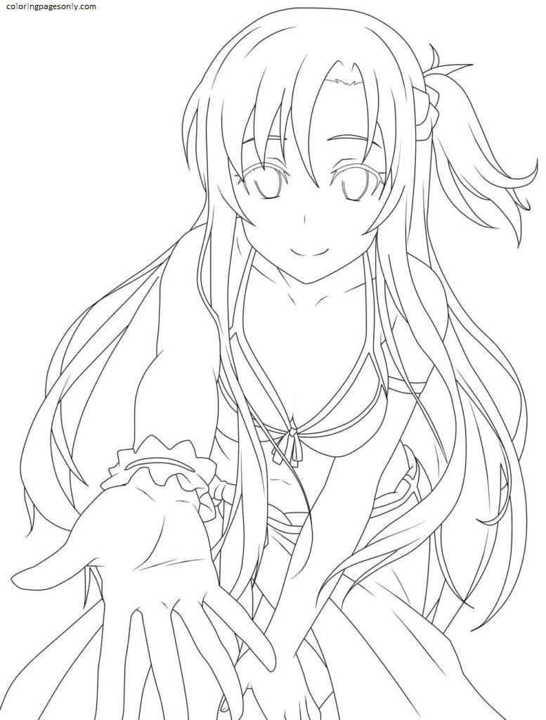 Asuna In Sword Art Online Coloring Page