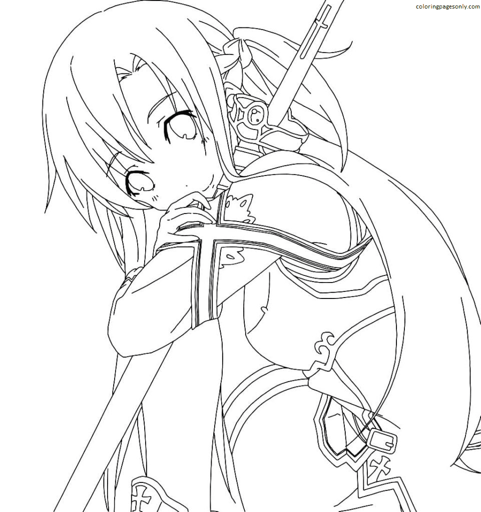 Asuna with a sword Coloring Page