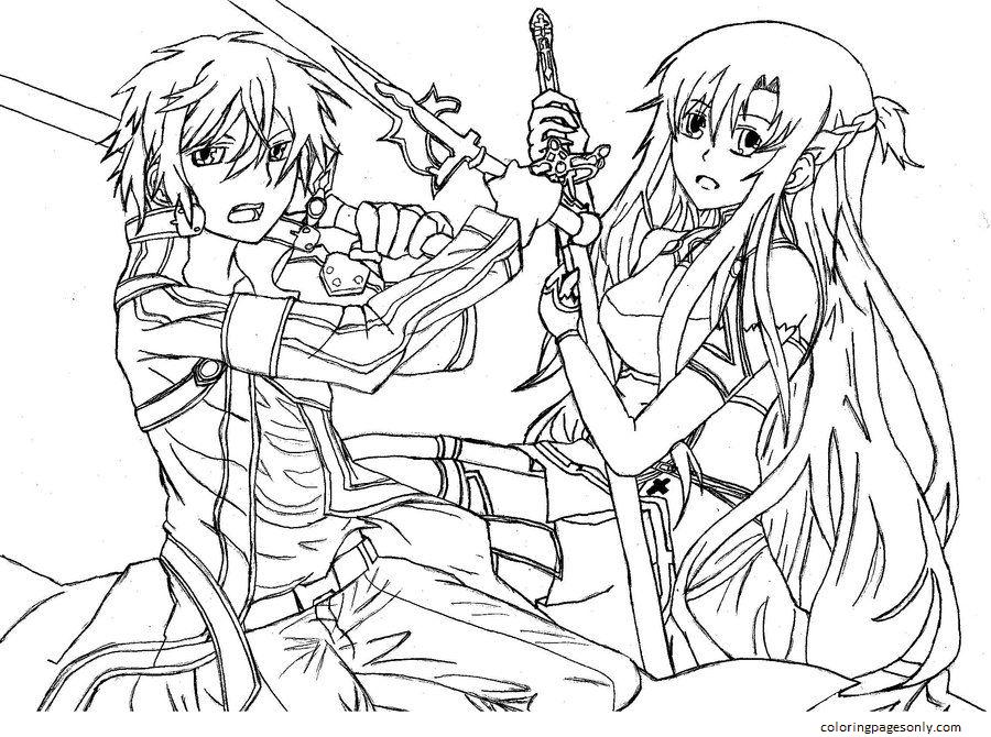Asuna Yuuki And Kirito Coloring Page