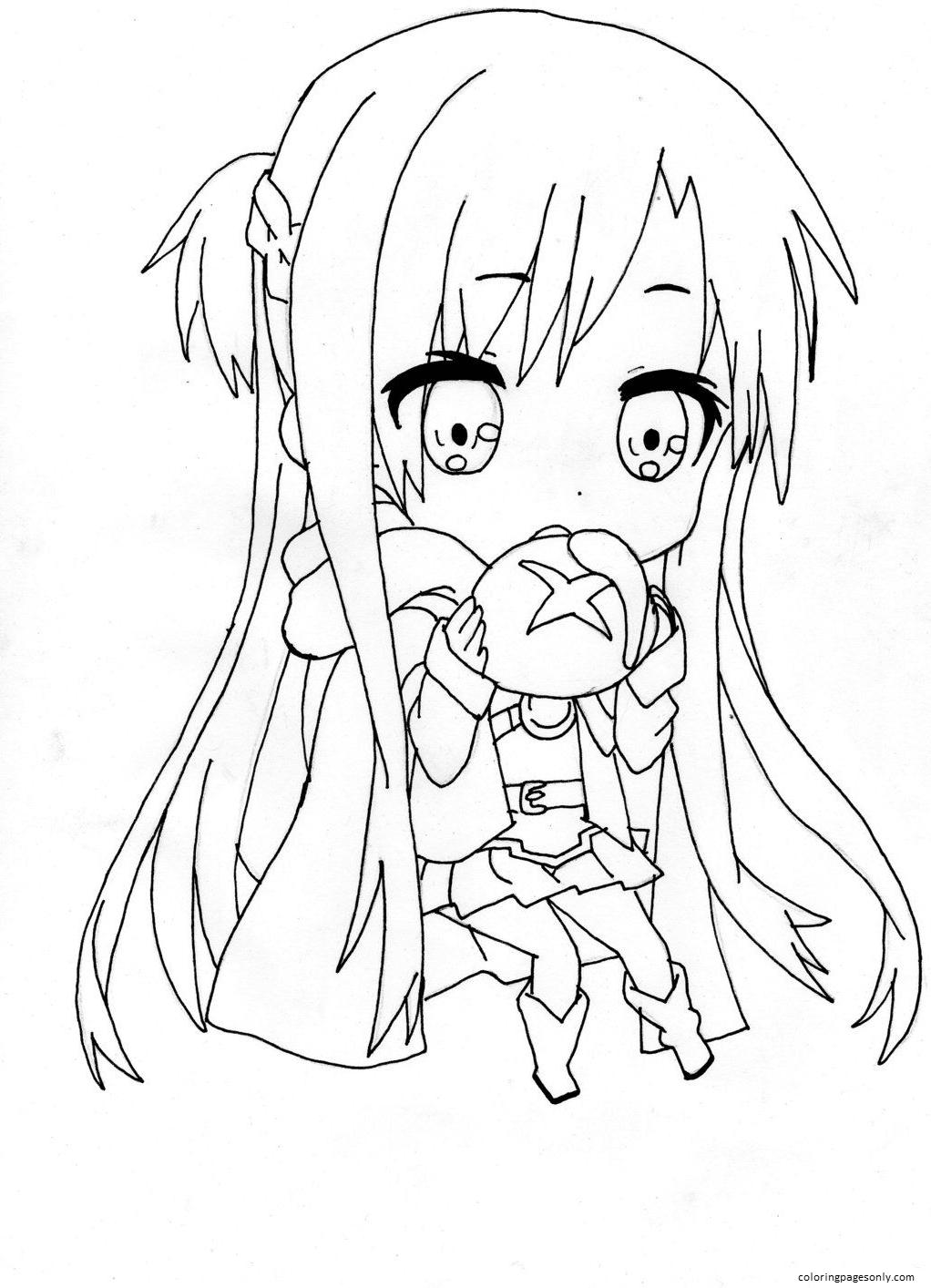 Asuna Yuuki Chibi Coloring Page