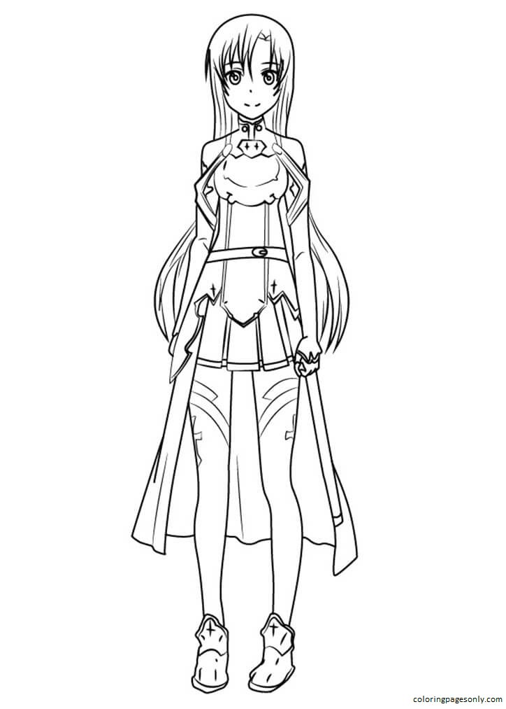 Asuna Yuuki from Sword Art Online Coloring Page