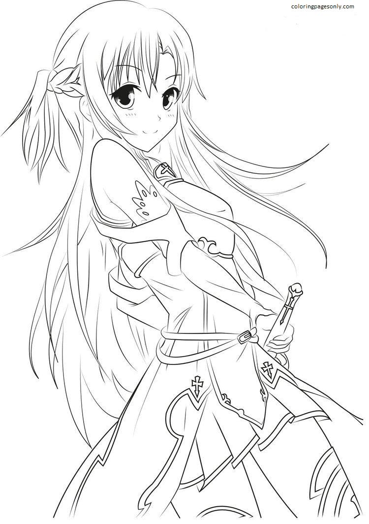 Asuna Yuuki-Sword Art Online Coloring Page