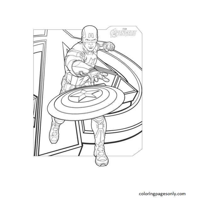 Avengers Captain America 1 Coloring Page