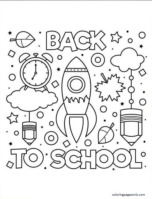 Back To School Rocketship Coloring Page