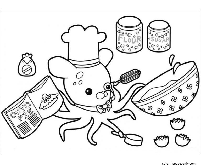 Baking with Professor Inkling Coloring Page