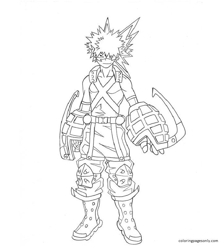 Bakugo In My Hero Academia Coloring Page