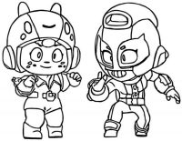 Brawl Stars Bea telling to Max a story Coloring Page