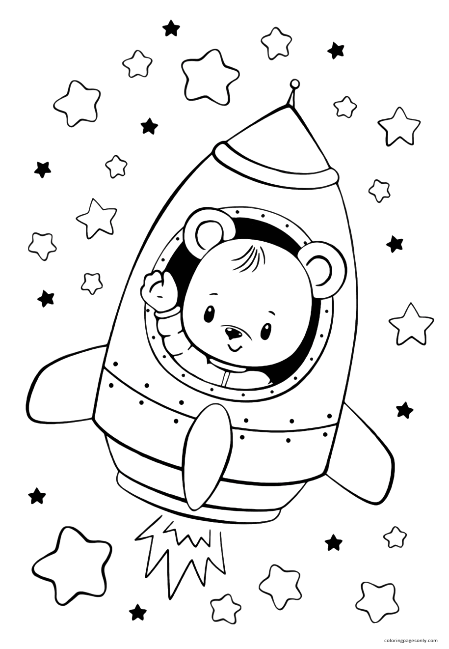 Bear In The Rocket Coloring Page