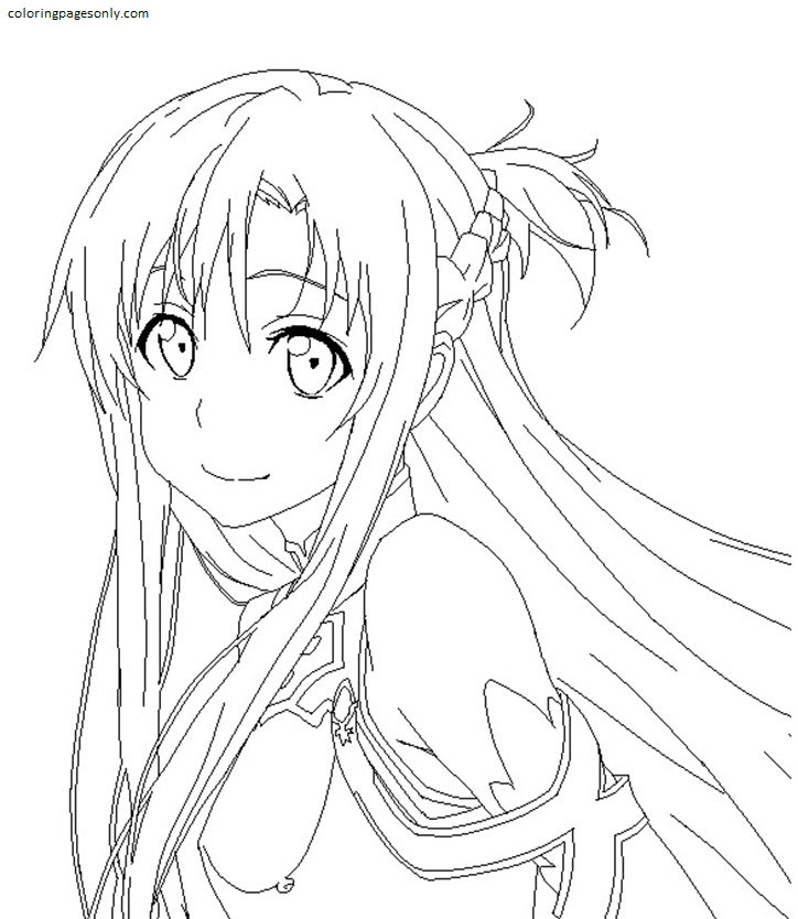 Beautiful Asuna Coloring Page