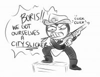 Bendy cowboy and Boris got themselves a city slick  Coloring Page