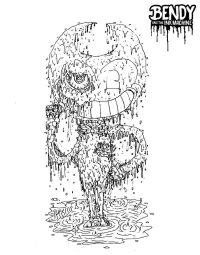 Bendy from Bendy and the Ink Machine in the ink puddle Coloring Page