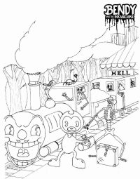 Bendy near the scary train from Bendy and the Ink Machine Coloring Page