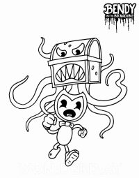 Bendy runs away from Chester from Bendy and the Nightmare Run Coloring Page