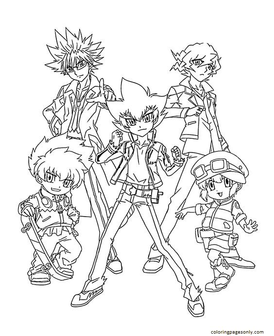 Beyblade Team Anime Coloring Page