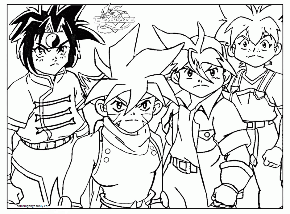 Beyblade Team Coloring Page