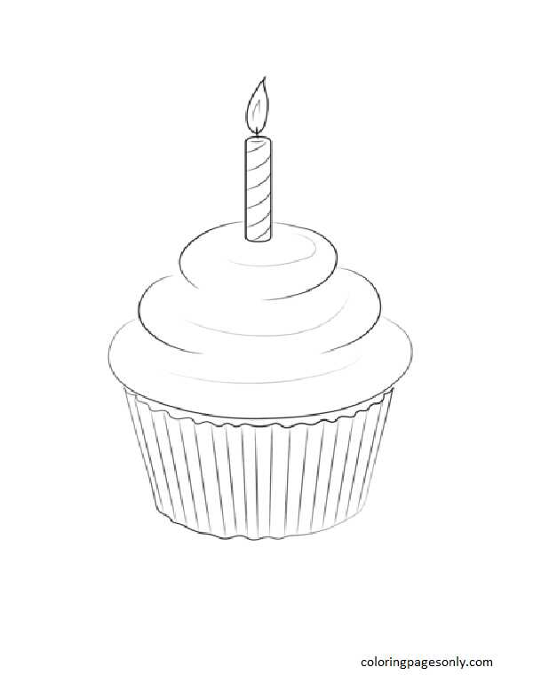 Birthday Muffin Coloring Page