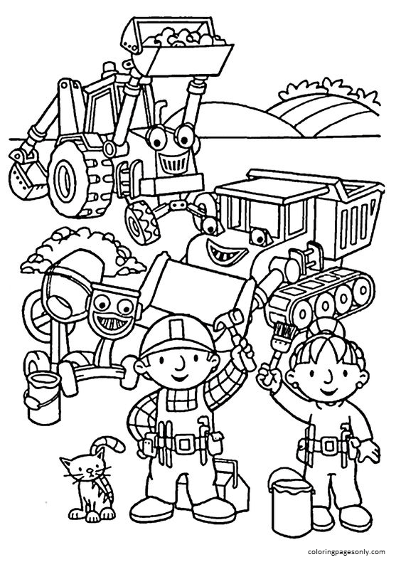 Bob and friends Coloring Page