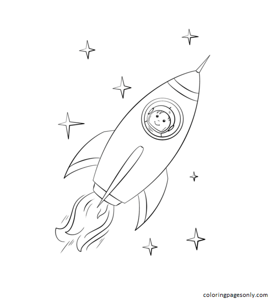Boy Astronaut Flying In A Space Rocket Coloring Page