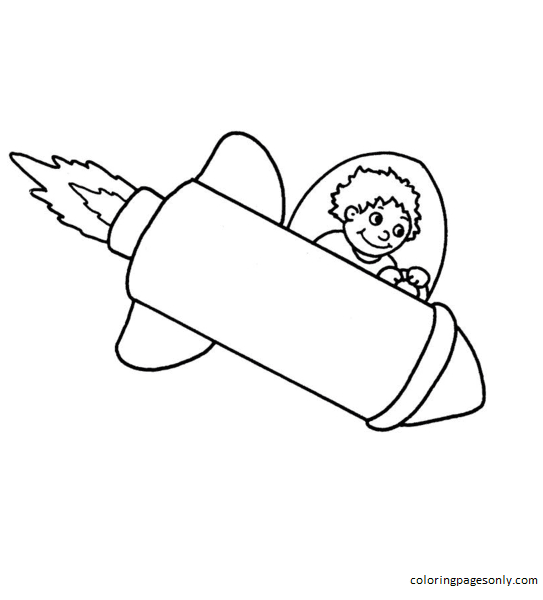 Boy Flying A Space Rocket Coloring Page