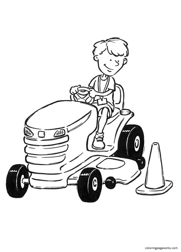 Boy On Tractor Coloring Page