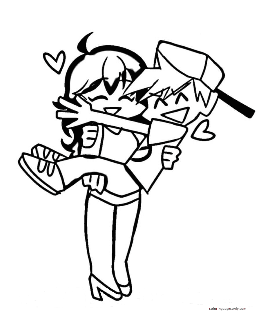 Boyfriend and Girlfriend in FNF Coloring Page