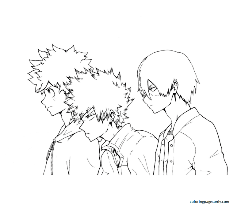 Boys In My Hero Academia Coloring Page