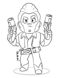 Colt in Brawl Stars has a scar on his chin Coloring Page