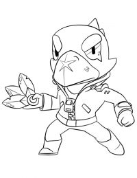 Crow in Brawl Stars prepares to throw a ring of poisoned daggers Coloring Page