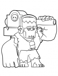 Frank swings his hammer at enemies from Brawl Stars Coloring Page