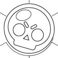 Coins in Brawl Stars has a skull-shape on it Coloring Page