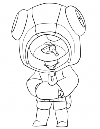 Leon from Brawl Stars eating lolipop Coloring Page