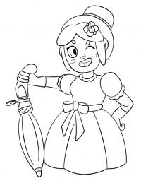 Brawl Stars Piper with her weapon unmbrella Coloring Page