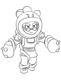 Rosa in Brawl Stars boxing botanist will plant her feet and go toe to toe Coloring Page
