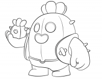 Spike from Brawl Stars holds a cactus grenades on its hand Coloring Page