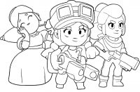 Team of Jessie, Shelly and Piper from Brawl Stars Coloring Page