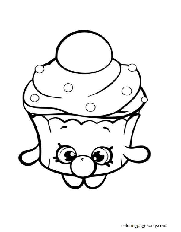 Bubble Cupcake Shopkin Coloring Page