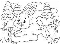 Bunny with a lot of carrots in the forest Coloring Page